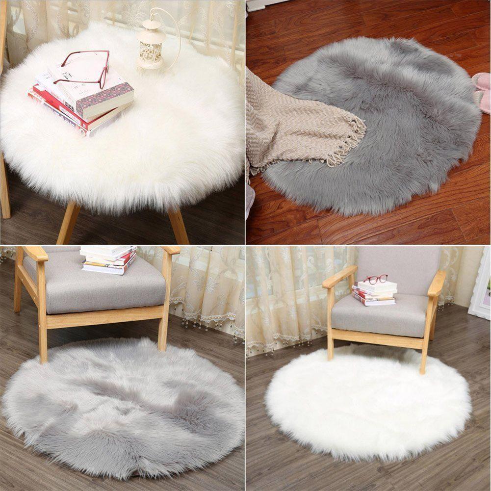 Best Faux Sheepskin Wool Carpet 30 X 30 Cm Fluffy Soft Longhair Decorative Carpet Cushion Chair Sofa Mat (Round Grey)