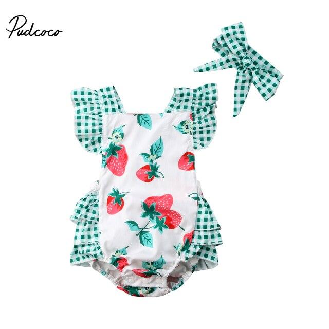 2018 nuevo recién nacido bebé niña fresa ropa sin mangas espalda cruzada tutú volantes bebé mono Traje a cuadros