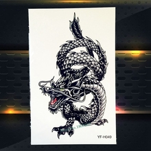 1PC Large Chinese Dragon Tattoo Waterproof Arm Back Decal Temporary Tattoo Sticker For Men Women Fake Tattoo Black Dragon PYFH49