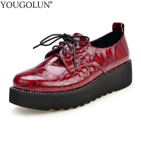 YOUGOLUN Women Flat Platform Shoes New Spring Autumn Genuine Embossed Leather Black Burgundy Red Lace up TPR Flats Shoes #A 007
