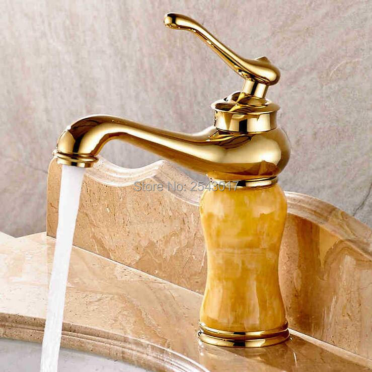 grifo de oro de mrmol acabado grifo del fregadero cubierta monte cuenca del cuarto de bao