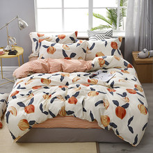reactive printing peach home bed set pillowcase duvet cover Bedding set flat sheet bedclothes 3/4pcs queen king full twin size(China)