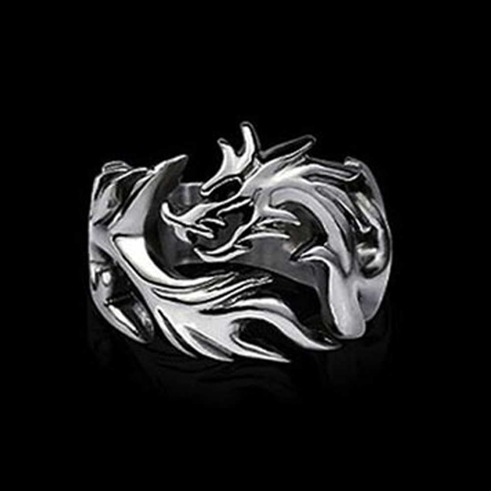2017 New Arrival Fashion Jewelry AlloySolid Inside Dragon Rings Men Biker Ring Personalized Gift