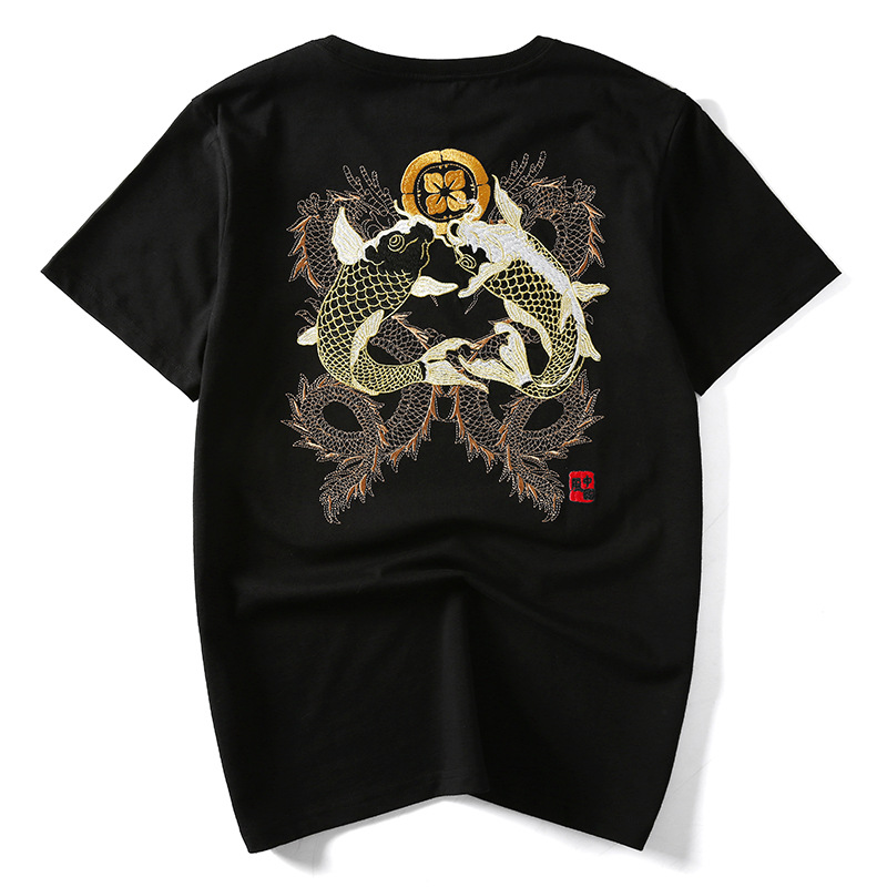 Men's Hip Hop Chinese Fashion KOI Fish Embroidery T Shirt Streetwear Tops Tees Clothes