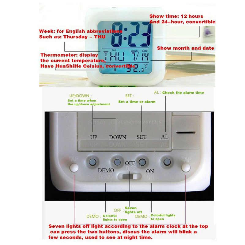 Reloj despertador LED despertador para bebé 2019, reloj digital con luz de fondo para niños, juguetes para figuras de acción