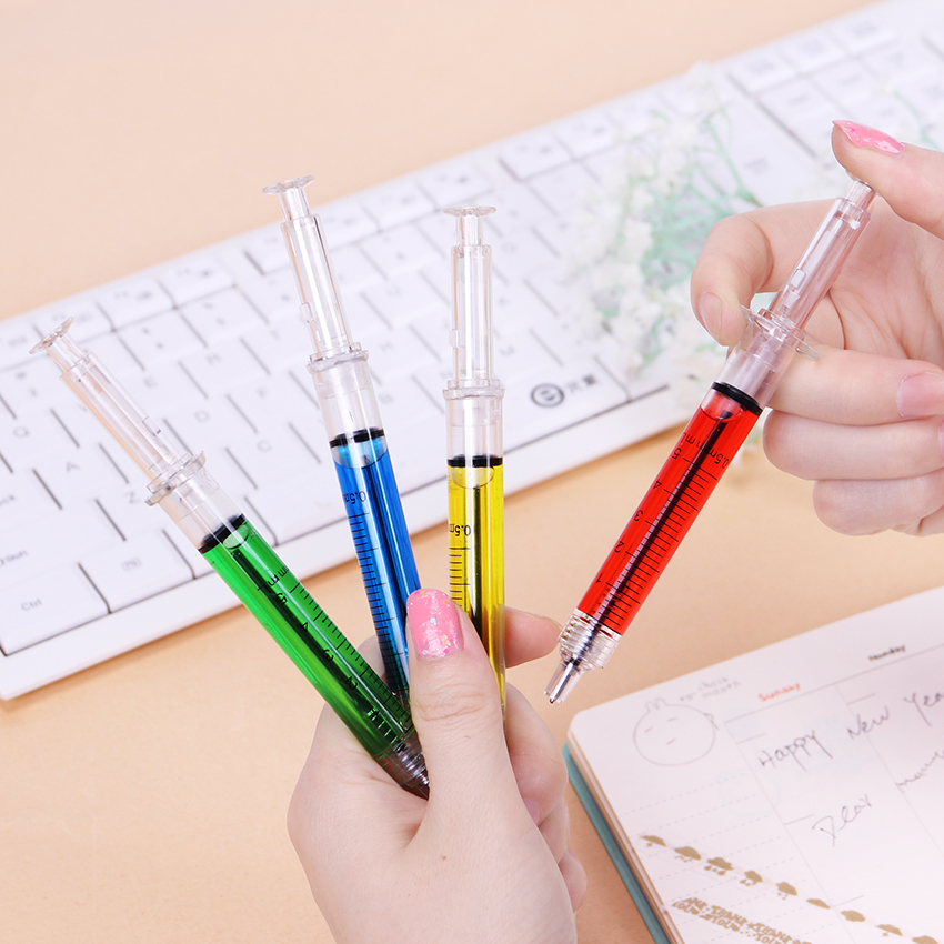 1pcs Creative Novelty Syringe Pen Peculiar Shape Cute Stationery Ballpoint Bullet 5mm Automatic Refillable Ballpen