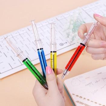 4PCS Creative Novelty Syringe Pen Peculiar Shape Cute Stationery Ballpoint Bullet 5mm Automatic Refillable Ballpen