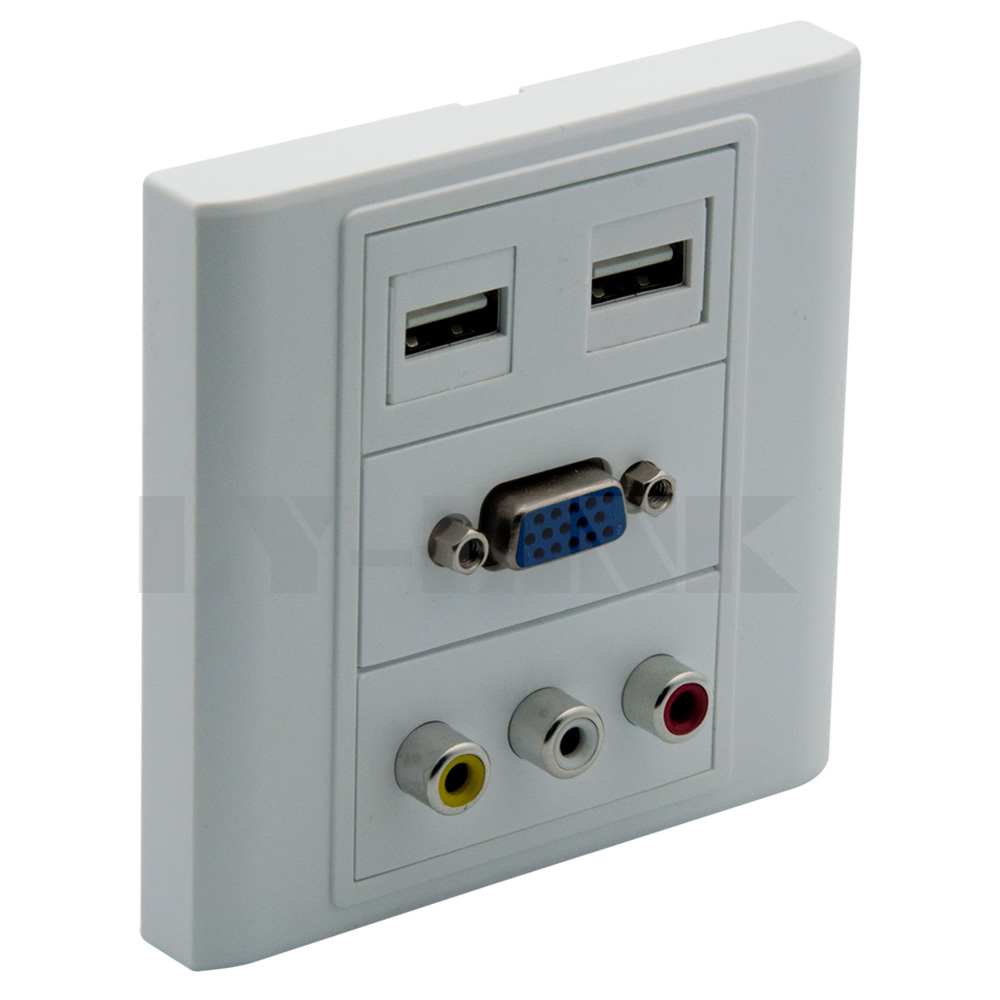 VGA, 2XUSB, 3RCA AV wall plate with back side screw connection support DIY