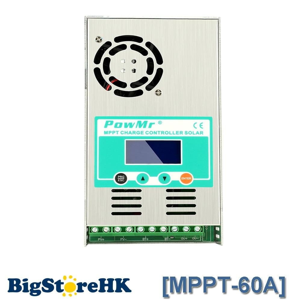 PowMr MPPT 60A 48 V 36 V 24 V 12 V Auto Max 190VDC Entrée régulateur solaire contrôleur lcd convient à Plomb- acide et batterie au lithium