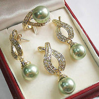 Women S Cospay Women S Hair Full Wigs Natural 12mm Green Shell Pearl Pendant Necklace Earrings