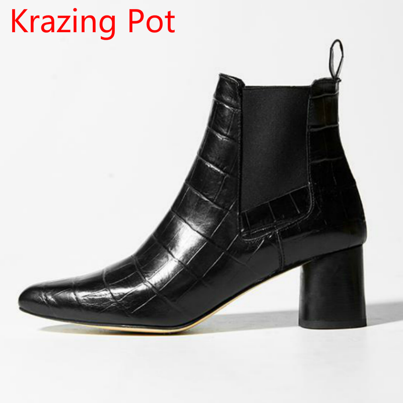 Genuine Leather Sheep Suede Fashion Boots High Heel Slip on Pointed Toe Winter Shoes Punk Ankle Boots Runway Chelsea Boots L83 nayiduyun women genuine leather wedge high heel pumps platform creepers round toe slip on casual shoes boots wedge sneakers