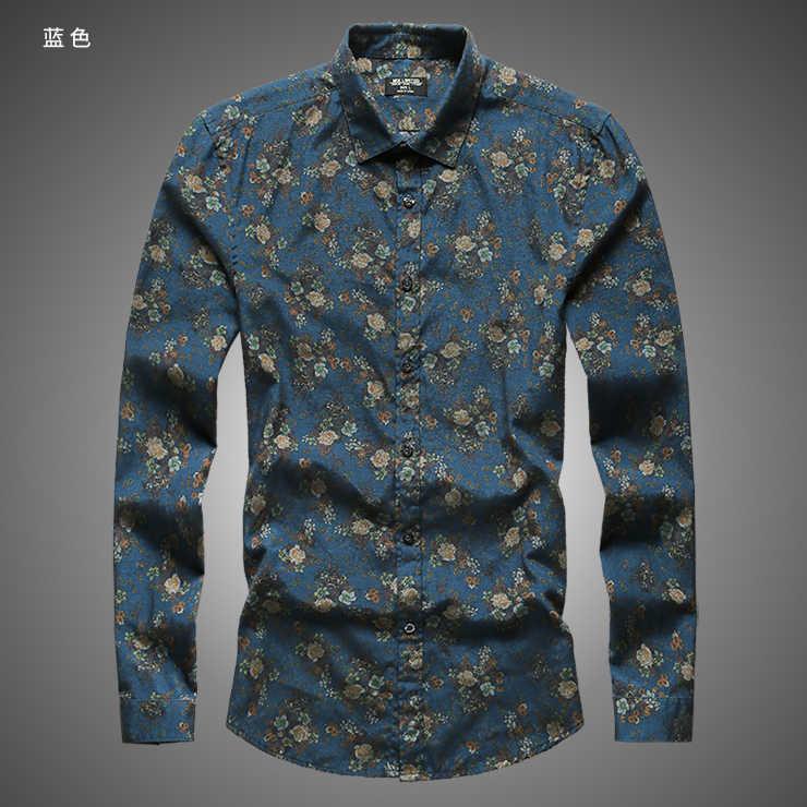 秋の新ファッションフラワープリント長袖シャツ男性カミーサ男性スリム花シャツヴィンテージリネンカジュアル男性シャツ S2004
