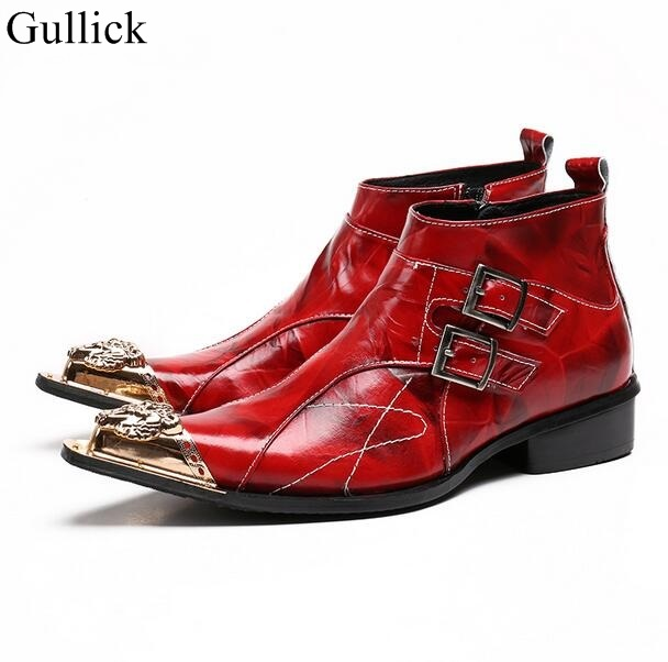 Gullick Brand Men Dress Shoes High Top Men Metal Tip Leather Shoes Red Side Zipper Ankle Boots For Mens Flat Buckle Dress Shoes