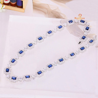 N200852 New blue color square CZ necklace zinc Alloy silver color rose gold color with white high quality zircon wedding jewelry