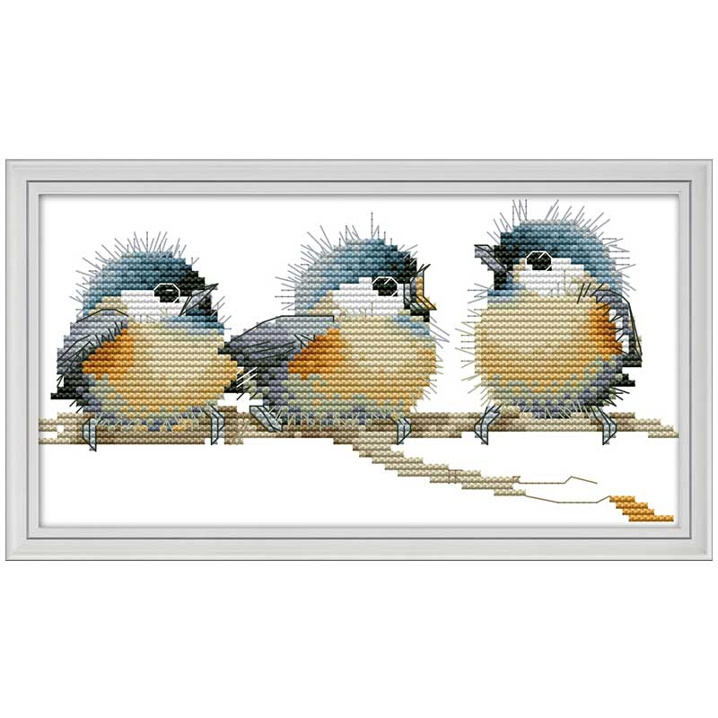 Three Birds Painting Counted Printed On The Canvas DMC 11CT 14CT DIY Kits Chinese Cross Stitch Embroidery Needlework Sets