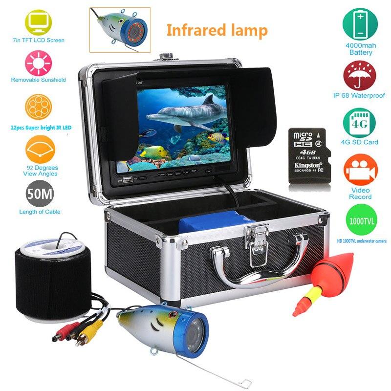 GAMWATER HD 50M Depth Finder 1000TVL <font><b>Underwater</b></font> <font><b>Fishing</b></font> Camera Video Recorder DVR 7&#8243; inch Infrared IR <font><b>LED</b></font> <font><b>lights</b></font> Camera <font><b>Fishing</b></font>