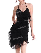 PrettyGuide S/M Deco Gatsby 1920s Sequins Vintage Fringe Sway Flapper Halter Dress Lain Dance Party Dress