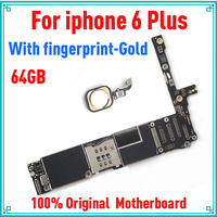 Gold with Touch ID for iphone 6 plus Motherboard,64gb Original unlocked for iphone 6P Mainboard with Full Chips,Free Shipping