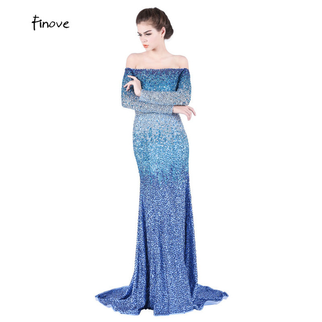 Dazzling Boat-neck Sexy Design Evening Dresses Long Heavy Beaded Off the  Shoulder Full Sleeve Royal Blue Mermaid Prom Dress Part 9ff749bf3