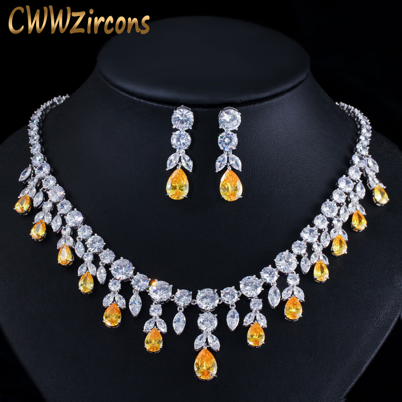 CWWZircons Luxury Tassel Drop African Big Cubic Zirconia Yellow Stone Wedding Party Bride Necklace and Earring Jewelry Sets T347