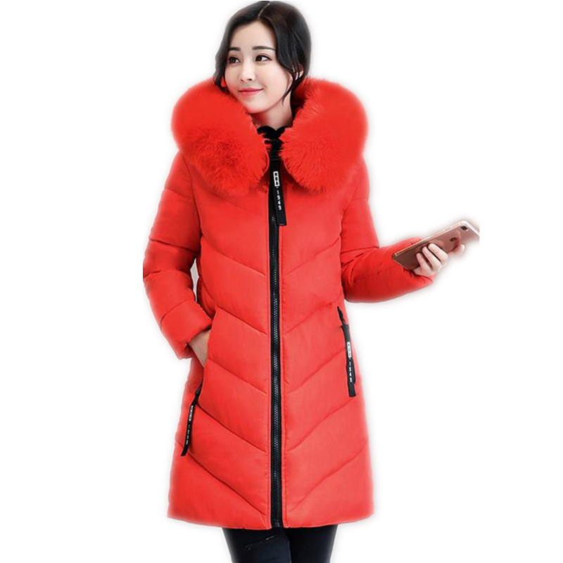 2018 Plus Size 6XL Winter Women Down Cotton Medium-Long Jacket Parka Famale Hooded Big Fur Collar Wide-Waisted Warm Coat CQ493 yi la 2017 new winter fur collar hooded down cotton coat fashion women s long coat cotton warm jacket parka plus size 3xl s869