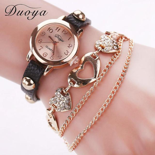 Bracelets Female 2018 Zegarek Damski Ladies Watch Duoya Chain Pu Leather Dress Q