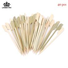 Горячая Распродажа 40 шт Барбекю Деревянные бамбуковые лопатки шампуры одноразовые коктейльные палочки для вечеринок