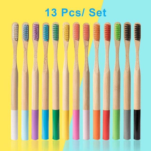 13 piezas Medio Ambiente de madera del arco iris de cepillo de dientes de bambú de fibra mango de madera cepillo de dientes blanqueamiento colorido