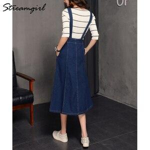 Image 3 - Falda larga de 2019 mujeres atado faldas para mujeres Plus tamaño de verano de las mujeres faldas falda de Jeans con correas mujer