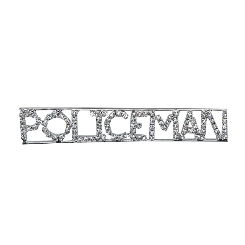 Custom Professions & Jobs Theme Crystal Lapel Pin POLICEMAN Word Brooch Gift Wholesale 6PCS/LOT FREE SHIPPING
