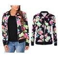 2017 mujeres del verano del resorte delgada capa de la chaqueta vintage nacional étnico de la impresión floral señora chaquetas de la capa delgada de manga larga chaqueta femenino