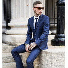 Costume Homme For Peaked Lapel Men Suits For Wedding Two Buttons Grooms Tuxedos Piece Slim Fit Groomsmen Suit (jacket+pants)