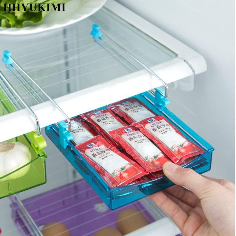 Hhyukimi refrigerador almacenamiento rastrillo diapositivas congelador cajón caja de almacenamiento de alimentos despensa de almacenamiento organizador contenedor para ahorro de espacio