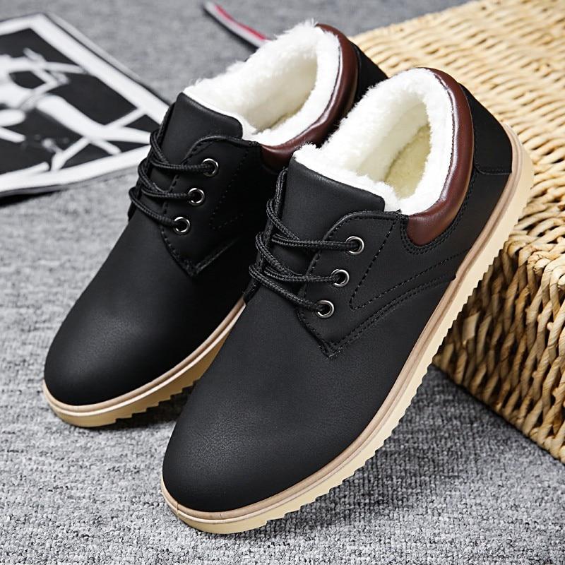 Inverno Masculina Moda Sapatos Pu 3 A Homens Couro Calçados Quente Dos Curto Apartamentos De Com Meil 2 1 Pelúcia 2017 Para Casuais wAU40W
