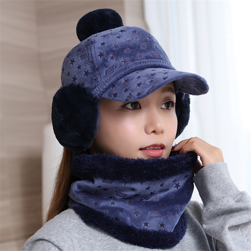 f4dc659ad8e New Fashion Autumn Winter Knitted Women Hat Scarf Earmuffs Set Plus Velvet  Warm Scarf Collar Female Cotton Crochet Beanies Caps-in Skullies   Beanies  from ...
