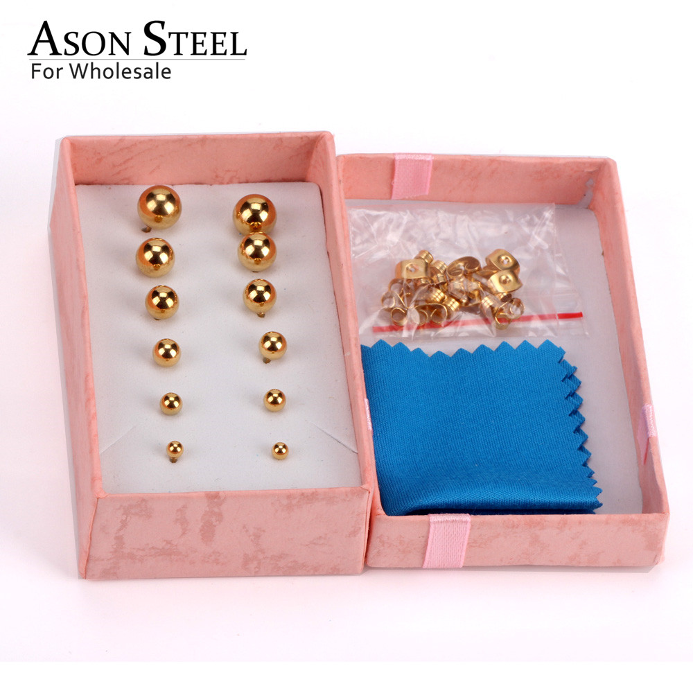 ASONSTEEL Earring Men Rose Gold Round Ball Stainless Steel 6pairs/Box Earring Sets Fashion Small Stud Jewelry for Women Brinco