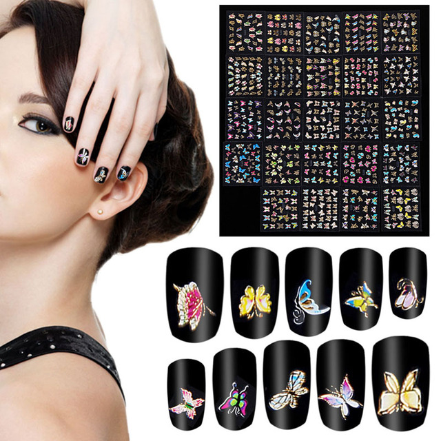 Aliexpress buy 24pcspack butterfly 3d stamping nail 24pcspack butterfly 3d stamping nail stickers animals bronzing decals nail art decorations multicolor nails prinsesfo Image collections
