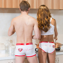 Couple Underwear Heartbeat White Red Women Panties Men Boxer Sexy Lover Valentine's Day Gift I Love You 1Piece