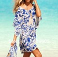 Sexy Beach Dress Women Print Floral Dress Loose Casual Style Summer Women Beach Dress Swimsuit O-Neck Mini Dress