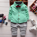 2016 New Spring boys clothing set with tie cotton shirts 2pcs set fashion children sets A435