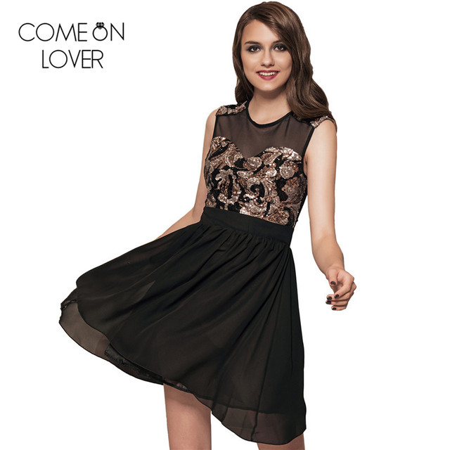 df52dd41b5be2 US $16.99 49% OFF|RL7864 Comeonlover sleeveless women sequin dress hot sale  free shipping o neck skater dress fashion polyester summer party dress-in  ...