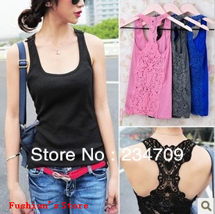 Han edition fashion lace back hollow out vest,render unlined upper garment camisole/camisole bra top ,1 pcs/lot