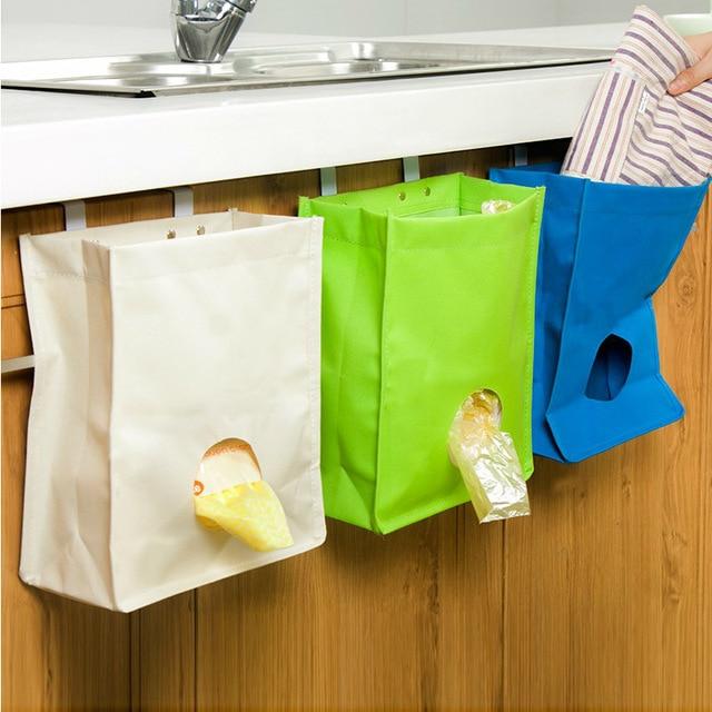 Hanging Garbage Bag Organizer Dispenser Kitchen Back Door Reusable Grocery  Bags Holder Net Trash Bag Storage