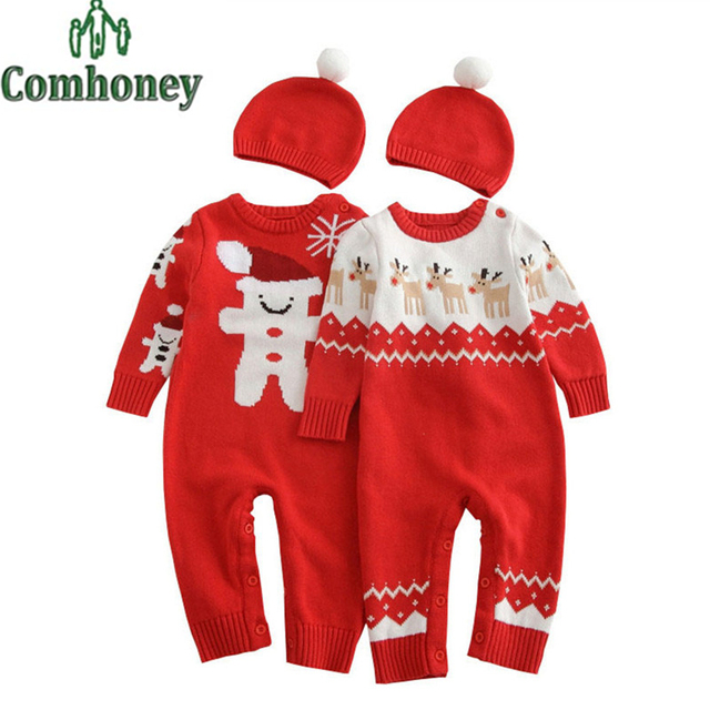 Baby Rompers Christmas Snowman Newborn Baby Clothes Knitted Infant Jumpsuit Winter Bebes Boy Girl Winter Sweater Romper with Hat