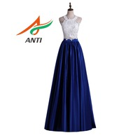 ANTI 2 pieces Lace Prom Dresses 2018 Elegant A Line Style Sleeveless O Neck White Top Blue Satin Europe Party Prom Dress Long