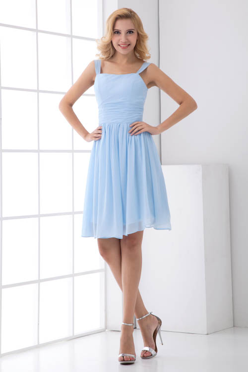 Robe Demoiselle D'honneur Sweet Light Blue Short   Bridesmaid     Dresses   Spaphetti Straps Chiffon Wedding Party   Dresses