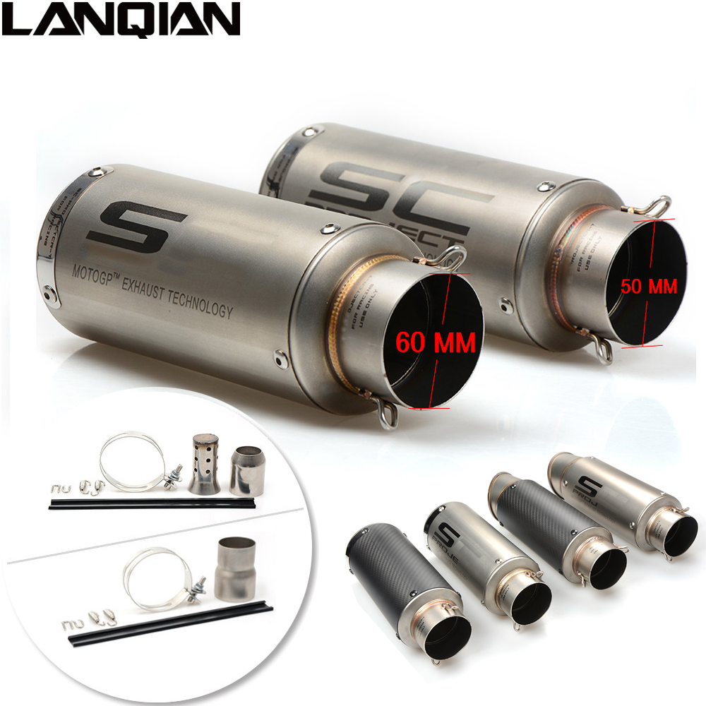 Laser Marking 51MM/61MM Motorcycle SC Exhaust Pipe Moto Escape Carbon Fiber Muffler Pipe For SUZUKI GSR GSXR 600 750 1000 SV 650 free shipping carbon fiber id 61mm motorcycle exhaust pipe with laser marking exhaust for large displacement motorcycle muffler