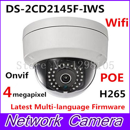 DS-2CD2145F-IWS H265 IP network mini dome poe CCTV cameras wifi audio 4MP DS-2CD2145F-IWS original new arrival ds 2cd2t35 i5 3mp exir bullet poe 1080p cameras poe cctv ip network cameras ir h265 ipc