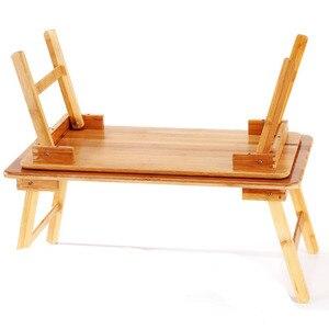 Image 4 - Katlanabilir Taşınabilir Bambu bilgisayar standı Dizüstü Bilgisayar Masası Dizüstü Bilgisayar Masası dizüstü bilgisayar masası Yatak çekyat Tepsi Çalışma Masaları