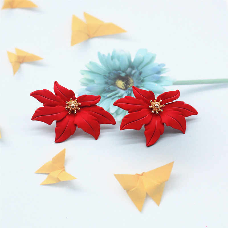 2019 New Design Fashion Jewelry Elegant big The maple  Flower Earrings Summer Style Beach Party earring for woman